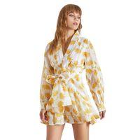 Wholesale women long lantern for sale - Group buy Vintage Print Dress For Women V Neck Lantern Sleeve High Waist Bandage Mini Dresses Female Fashion Summer