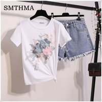 кистовидные футболки оптовых-2019 Fashion New Summer Embroidery Flower Tshirts + Women Summer 2pcs Tassel shorts Suits Vogue Stylish European Fashion Sets