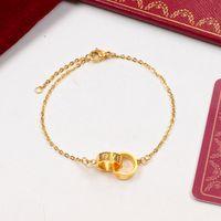 k8 oro al por mayor-TitanioCartier Carta de doble anillo colgante amor pulsera 18K color titanio de acero joyería de oro pares ninguna caja K8