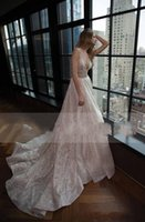 Wholesale glitter shiny dresses resale online - 2019 New Glamorous Berta Wedding Dress Sexy Plunging V Neck A line Backless Shiny Glitters Fabic Latest Bridal Gowns Custom Made