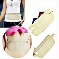 Wholesale travel security purse resale online - 500Pcs Women Wallets Travel Security Money Ticket Passport Holder waist packs Belt purse bag