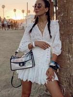 neue leinenkleider großhandel-2019 Sommer New Zimm White Kurzarm Leinen bestickt Hohl V-Ausschnitt Taille Kleid