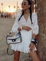 vestidos de lino nuevos al por mayor-2019 verano nuevo Zimm blanco manga corta lino bordado hueco con cuello en v vestido de cintura