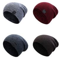 женские шикарные шляпы оптовых-2019 Newest Hot Unisex Men Women Fashion Cotton Knit Baggy Beanie Oversize Winter Hat Ski Slouchy Chic Cap Brown Gray
