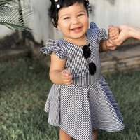 Wholesale girl clothe resale online - Baby Girls Princess Dress Newborn Girls Striped Ruffle Backless Dress Kids Designer Outfits Clothing Girls Lace Bow Tie Pleated Skirt