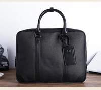 Wholesale clear briefcase for sale - Group buy Business Real Leather Document bag mick Top Grade Quality Briefcase document voyage bag Classic Style Brown CLUTCHES EVENING