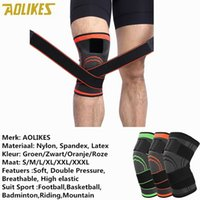 эластичные спортивные повязки колено оптовых-AOLIKES 1PCS 3D Pressurized Fitness Running Cycling Breathable Bandage Knee Support Braces Elastic Nylon Sports Compression Pad