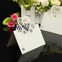 diseño de tarjeta de presentación al por mayor-METABLE 50pcs Wedding Party Table Name Place Cards Favor Decoración Love Heart Laser Cut Design