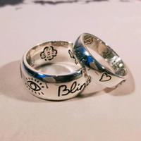 paare herzringe großhandel-Blind für die Liebe 925 Sterling Silber Auge Herz Blume Vogel Paar Ring