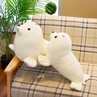 lindos juguetes de leon de bebe al por mayor-Cute Baby Boys Girls Snowy White Seal Suave Felpa Muñecas Simulación Sea Lion 2 Tamaños de Peluche de Juguete Almohada Muñeca de Los Niños Regalo