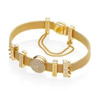 encantos banhados a ouro em estilo pandora venda por atacado-Terminou 925 Sterling Silver Pandora Estilo Moderno Malha Reflexões Pulseira com Encantos Beads-Gold Banhado