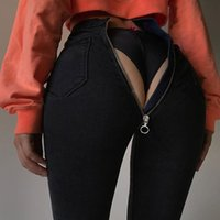 ingrosso nuovi jeans materiale-Factory Source Sales 2020 Nuovo stile High-Q Zipper Elastic Fabic Materiale Nero blu Vendita calda Sexy Streetwear Pantaloni femminili Jeans