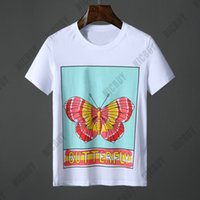 camiseta borboleta venda por atacado-Designer Marca Mens T-shirt Primavera Verão Itália Europa roupas borboleta impressão Carta Clássica Casual camiseta de Algodão T Top Tshirt