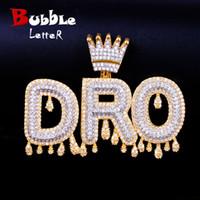 ingrosso ciondolo gioielli bails-Nome personalizzato Gold Crown Bail Drip Initials Bubble Letters Catena Collane Ciondolo Cubic Zircone Uomo Gioielli Hip Hop