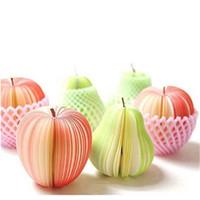 новый блокнот оптовых-DIY симпатичные яблоко зеленый груша заметки бумага фрукты овощи блокноты Sticky notes бумага всплывающие заметки офис Papelaria поставки
