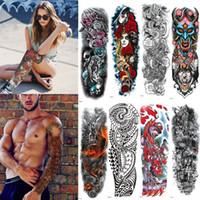 şakayık dövmesi toptan satış-Ekstra Büyük Tam Kol Geçici Dövmeler Kollu Tavuskuşu şakayık ejderha kafatası Erkekler Kadınlar için Tasarımlar Su Geçirmez Dövme Çıkartma Vücut Sanatı boyalar