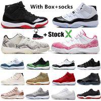 yılan derisi basketbol ayakkabıları toptan satış-Yüksek 2019 Concord 45 Space Jam Yılan derisi Erkekler Basketbol Ayakkabı Bred Heiress Gama Mavi Yılan derisi Spor Tasarımcı Sneakers Trainer 11 11S Bred
