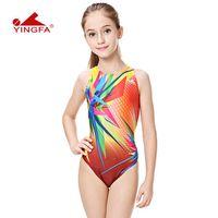 trajes de baño de color sólido para niños al por mayor-Yingfa niños entrenando trajes de baño niños nadando traje de carreras competencia trajes de baño niñas profesional nadar niño sólido