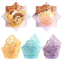 Wholesale cut lace cupcake resale online - 12pcs Little Vine Lace Laser Cut Cupcake Wrapper Liner Baking Cup Hollow Paper Cake Cup DIY Baking Fondant Cupcake Wedding Decoration
