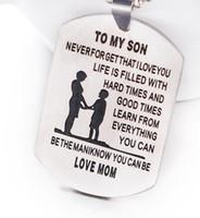 jóias do bebê para a mãe venda por atacado-Jóias da família PARA MEU FILHO Gravado Dog Tag Colares Bebê Criança Mãe Amada Família Tag Collar Mãe Colar De Aço Inoxidável