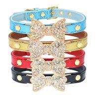 ingrosso arco forniture-11 Colori 5 pz / set Strass Bow Tie Geniune Pelle Pet Dog Collar Guinzaglio Del Cane Strumenti di Piombo Collari di Addestramento Pet Supplies