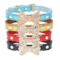 Wholesale led dog collar small for sale - 11 Colors set Rhinestone Bow Tie Geniune Leather Pet Dog Collar Dog Leash Lead Tools Training Collars Dog Pet Supplies