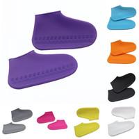 cubiertas de zapatos al aire libre al por mayor-Cubiertas de zapatos reutilizables Gel de sílice Protectores de zapatos Cubierta contra la lluvia Ndoor Exterior Antideslizante Engrosamiento Desgaste Resistente 12hl F1