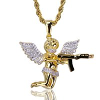 Wholesale cupid pendant gold resale online - New Styles White CZ Zircon Hands Folded Angel Cupid Archery Pendant Chain Necklace K Gold Plated Copper Hip Hop Punk Gifts for Men Women