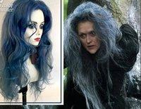 ingrosso parrucca blu mix-Parrucca di capelli COS magici blu sfumati di magia nera foresta di fuochi d'artificio lunghi capelli ricci