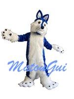 raposa mascote trajes venda por atacado-Traje de mascote de cachorro Husky Fox azul Halloween extravagante vestido de festa