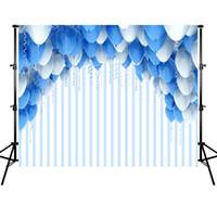 mavi fotoğraf kızı toptan satış-Beyaz ve Mavi Balonlar Çizgili Backdrop Düğün Photo Booth Arkaplan Doğum Günü Partisi Dekorasyon Bebek Duş Çocuklar için Erkek Kız
