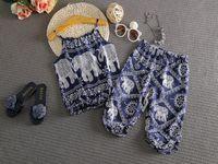 vêtements mignons bébé éléphant achat en gros de-Nouveau mignon petit bébé enfants filles éléphant gilet tops + pantalon long 2pcs / lot costume vêtements d'été mis vêtements pour enfants