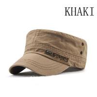 e10987235bf Style Cadet Army Cap Men Women Solid Color Washed Cotton Flat Top Cap  Summer Autumn Adjustable Chapeau Visor Hats