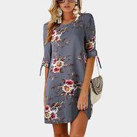 çiçek baskılı tunik toptan satış-Kadın Yaz Elbise Boho Tarzı Çiçek Baskı Şifon Plaj Elbise Tunik Sundress Gevşek Mini Parti Vestidos Artı Boyutu 5XL