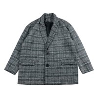 manteau d'hiver style japon achat en gros de-Casual Turn Down Col Plaid gris café peignée manteau d'hiver 2018 Hommes Pardessus Japan Style Lattice jeunes en vrac Homme Veste