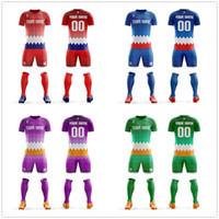 boş futbol setleri toptan satış-DIY Özel Süblimasyon Boş Futbol Üniforma kiti Ücretsiz Tasarım Futbol Takımı Gömlek Hızlı Kuru Nefes Erkek Futbol Formaları Tops