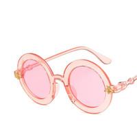 kızlar gözlük çerçeveleri çocuklar toptan satış-Çocuk 2019 YENI tasarımcı Çocuklar Yuvarlak Çerçeve Güneş Gözlüğü Çocuk Gözlük UV400 Bebek Yaz Gözlükler Vintage Sevimli Kız Gözlük