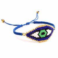 peru de jóias venda por atacado-Handmade Azul Turquia Evil Eye Pulseiras Miyuki Missangas Turquia Totem pulseiras ajustável Tamanho frisada pulseira da amizade Jóias