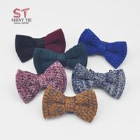 ingrosso uomini due toni di arco di tono-2018 moda cravatte a farfalla per uomo filati cotone farfalla bicolore tinta unita bowtie maglia donne tessute donne