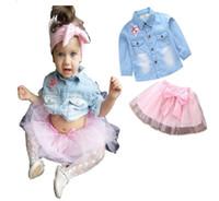 camisa rosa de mezclilla al por mayor-Nuevo conjunto de ropa para niños modelos de explosión de moda para bebés niñas lentejuelas de cinco puntas camisa de mezclilla + tutú de lazo rosa