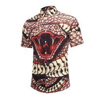 ingrosso stampa funky-Camicia da uomo estiva hawaiana 3D Cobra Print Beach Camicia manica corta Funky Party Casual Camp Camp Down Down Aloha Camicie