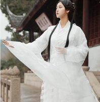 altes weißes kleid großhandel-Shallow White Hanfu Kostüm Asian Movie TV Ähnliches Produkt Chinese Dress Film Drama Bekleidung Fresh Elegant Oriental Ancient Swordwoman Dresses