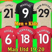 erkekler forma giyenler toptan satış-Tayland FC Manchester United futbol forması soccer jersey football shirt 2019 2020 Pogba Lingard Lukaku RASHFORD MARTIAL futbol forması Utd 18 19 20 üniformalar MAN formaları