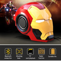Wholesale smallest portable radio resale online - bluetooth speaker delivery New iron man Bluetooth small speaker wireless smart radio bass TF card mobile phone audio