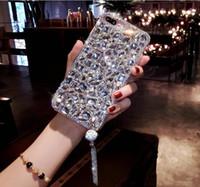 elmas kristal arka kapak toptan satış-XSMYiss Bling Mücevherli Rhinestone Kristal Elmas Yumuşak Geri Kolye telefon Kılıfı iphone X 6 s 7 8 Artı 5 SE XR Xs Max