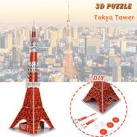 hobi evi toptan satış-Karton Tokyo Kulesi 3D Bulmacalar Oyuncaklar Çocuk DIY Ünlü Dünya Bina Modeli Kitleri Eğitim Hobiler Hediye Ev Dekor
