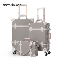 Wholesale vintage suitcase leather resale online - COTRUNKAGE quot quot quot Grey Travel Suitcase Sets Ladies Pu Leather Piece Womens Vintage Trolley Luggage Trunk with Wheels