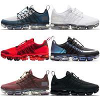 kentsel spor ayakkabıları toptan satış-NIKE 2019 Run UTILITY Vapormax VM OFF WHITE Erkek Koşu Ayakkabı SIYAH REFLECTIVE Çöl bir Orta Zeytin Bordo Crush eğitmenler Moda Spor tasarımcısı Sneakers Marka 40-45