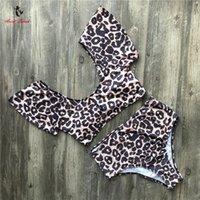 ingrosso set di bikini da stampa di leopardo-Ariel Sarah Leopard-print Bikini a vita alta Costume da bagno sexy Costumi da bagno Fascia torace Bikini brasiliano Set costume da bagno imbottito Donne Y19051801