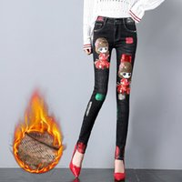 siyah sıska kot kızlar toptan satış-Kadınlar için kış Kot 2018 Sonbahar Femalecartoon Payetli Kot Bronzlaşmaya Skinny Denim Pantolon Siyah Kalem Pantolon Kız Öğrenci